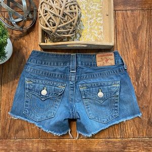 True Religion Keira low rise shorts size 25